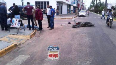 Photo of Motociclista fica ferido após colisão no Centro da cidade