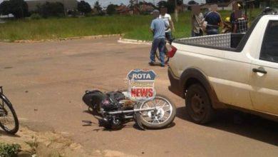 Foto de Colisão entre picape e motocicleta deixa uma pessoa ferida em cruzamento da avenida Melvon Jones