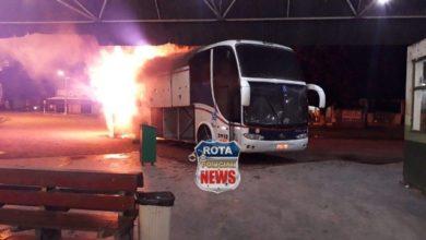 Photo of Ônibus da empresa Eucatur pega fogo na rodoviária de Presidente Médici