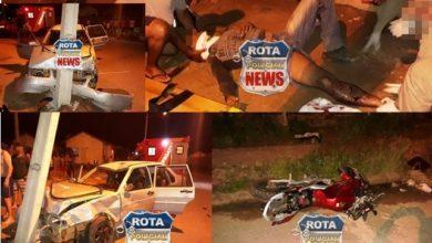 Photo of Motorista atinge moto, acerta poste e deixa mulher e motociclista feridos