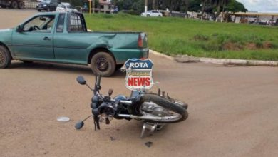 Photo of Picape Saveiro e motocicleta colidem na entrada de posto na BR-364
