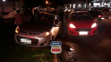 Foto de Colisão entre carros é registrada pela PM nas primeiras horas da noite desta quinta-feira