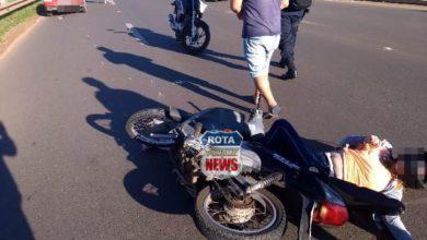 Photo of Carro e motoneta colidem em rotatória da BR-364 no perímetro urbano de Vilhena