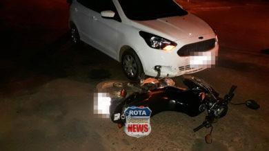 Foto de Motociclista sofre ferimentos ao ter moto atingida por carro no Centro de Vilhena