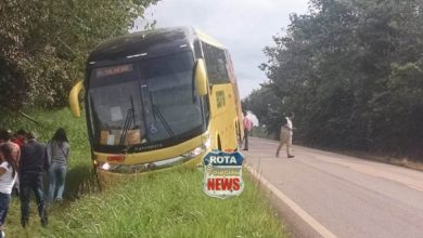 Foto de Ônibus da Eucatur sai da pista da BR-435 e PRF é acionada