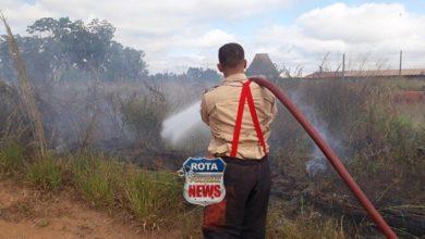 Photo of Bombeiros apagam fogo em vegetação no bairro Industrial em Vilhena