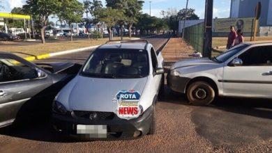 Foto de Colisão entre três veículos é registrada pela Polícia Militar próximo ao Park Shopping em Vilhena