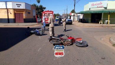 Photo of Colisão entre duas motocicletas deixa três feridos na avenida Brasil