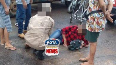 Foto de Mulher sofre queda com moto na avenida Melvin Jones em Vilhena