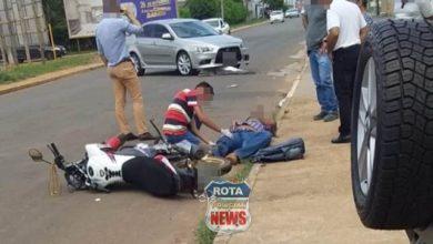 Photo of Motociclista sofre ferimentos ao colidir contra carro no Jardim Eldorado
