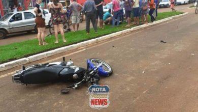 Photo of Carro e moto se envolvem em acidente na avenida Melvin Jones