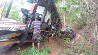 Photo of Caminhão cegonha perde o controle e tomba na BR-174