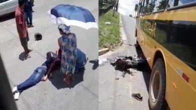 Foto de Morador é socorrido com suspeita de traumatismo craniano após acidente entre moto e ônibus escolar