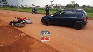 Foto de Colisão entre carro e moto deixa um ferido