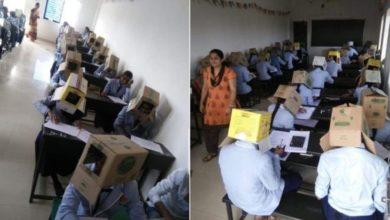 Photo of Fotos de estudantes fazendo prova com caixa de papelão na cabeça para não 'colar' viralizam e causam polêmica