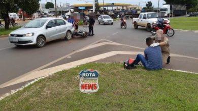 Photo of Motociclista atinge traseira de veículo em rotatória da BR-364 e sofre ferimentos