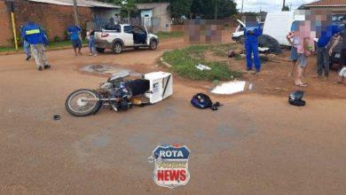Foto de Entregador sofre ferimentos após colisão entre moto e carro em Vilhena