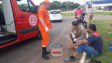 Photo of Motociclista sofre ferimentos após colisão em rotatória da BR-364