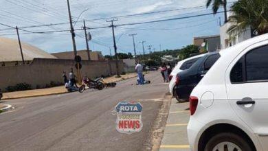 Foto de Motocicletas se envolvem em acidente no Centro de Vilhena