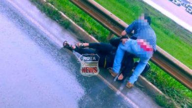 Photo of Motociclista sofre possível fratura na perna próximo de rotatória da BR-364