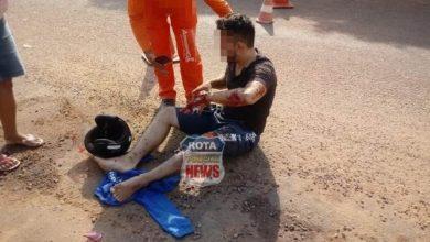 Foto de Colisão entre carro e moto deixa motociclista ferido em Vilhena