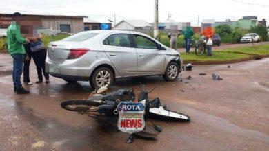 Photo of Colisão entre carro e motocicleta deixa motociclista ferida na avenida Perimetral em Vilhena