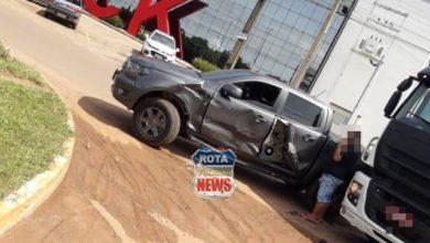 Photo of Caminhão e camionete se envolvem em acidente na entrada de rotatória em Vilhena