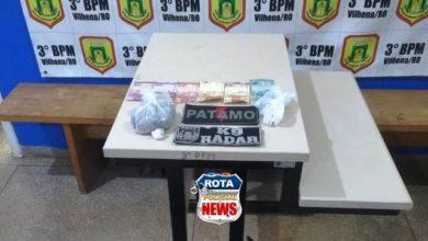 """Foto de Cão """"Radar"""" do canil do 3ºBPM localiza drogas e policiais prendem mulher por tráfico"""