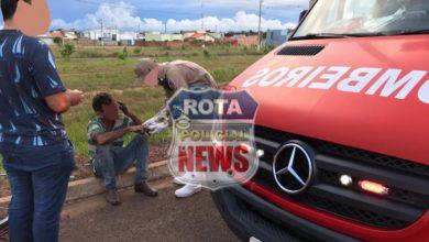 Foto de Idoso sofre queda com bicicleta na BR-174 e reportagem aciona o Corpo de Bombeiros