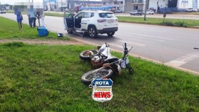 Photo of Colisão entre motocicleta e carro de luxo é registrada em rotatória da BR-364 em Vilhena