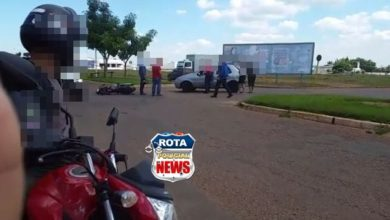 Photo of Carro e motocicleta colidem na avenida Melvin Jones em Vilhena