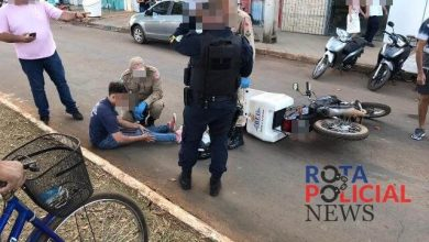 Foto de Colisão entre motocicletas deixa um ferido na avenida Paraná