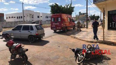 Foto de Carro e motocicleta colidem no cruzamento da BR-174 com a avenida Tancredo Neves
