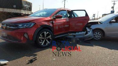 Foto de Carro de teste drive é atingido por veículo que avançou via preferencial em Vilhena