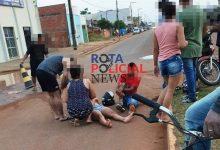 Foto de Colisão entre motos deixa grávida e motociclista feridos em Vilhena