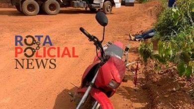 Foto de Caminhão e motocicleta colidem nas proximidades do pesqueiro do Roque em Vilhena